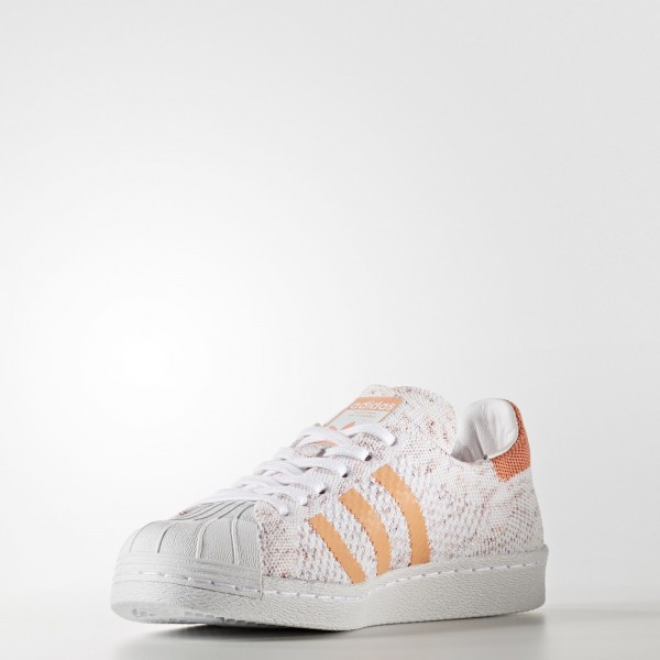 adidas Femme Originals Superstar 80s Primeknit (BY9206) - Footwear blanc/Collegiate Burgundy/Semi Flash Orange